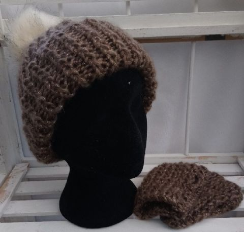 Faux fur pompom hat and wrist warmers